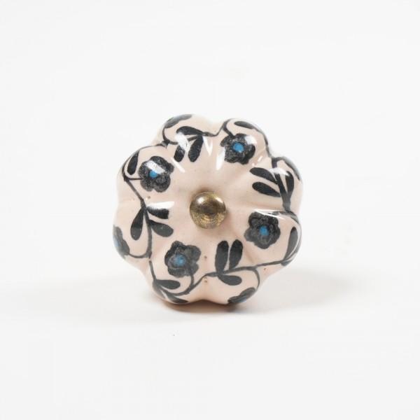 """Keramik Möbelknopf """"Blume"""", handglasiert, flachs/schwarz, Ø 4,5 cm"""