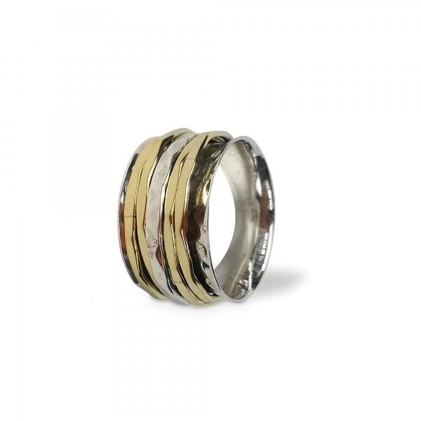 Ring 925 Silber mit Messingbändern, Silber, Messing
