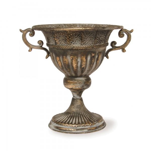 Blumenpokal 'Tibeau', messing-antik, T 36 cm, B 27,5 cm, H 31 cm