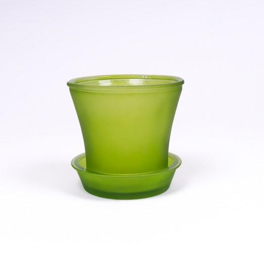 Glasblumentopf, Farbe: hellgrün