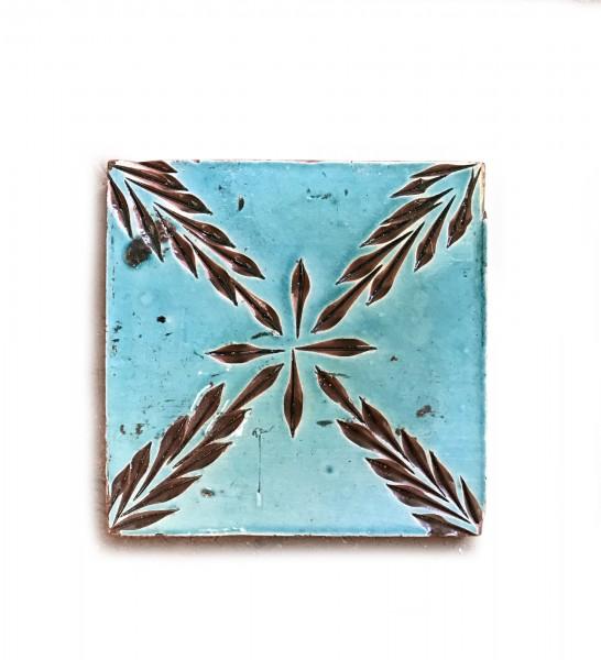 Kachel 'sapin turquoise', blau, braun, T 10 cm, B 10 cm, H 1 cm