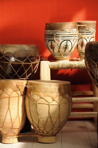 Ton-Trommel 'Tata', marokkanische 2er-Trommel, natur, H 25 cm