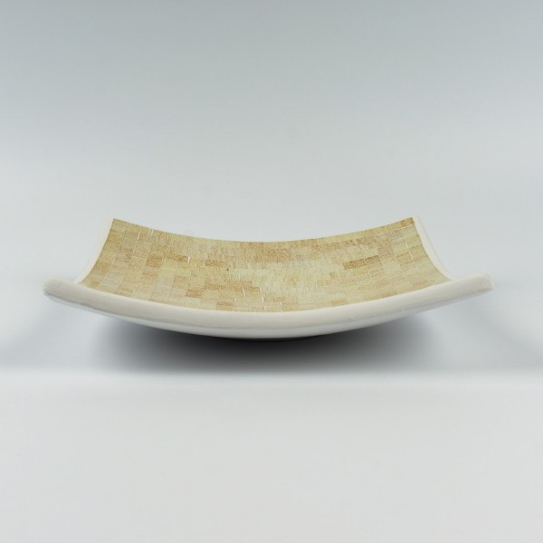Glasmosaikteller, weiß/gold, L 24,5 cm, B 24,5 cm, H 6 cm