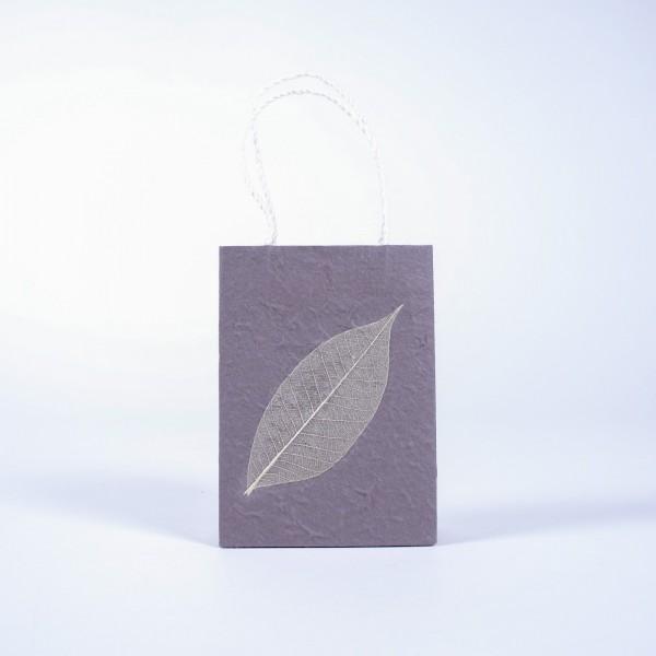 Tasche aus handgeschöpftem Papier, grau, B 11 cm, H 16 cm