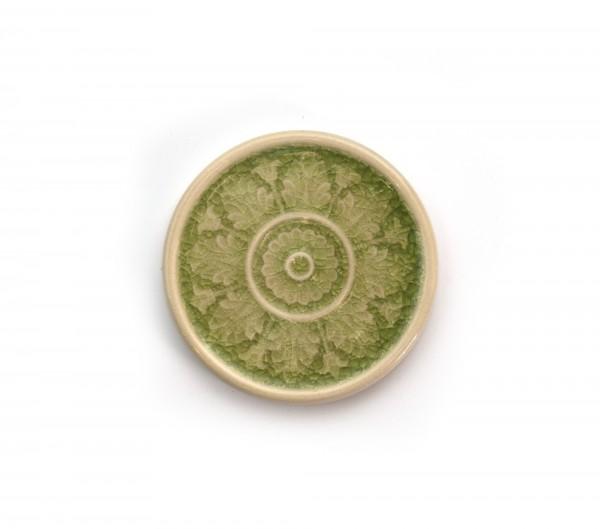 Steingutuntersetzer 'Blütenblätter', grün, beige, T 11 cm, B 11 cm, H 1 cm