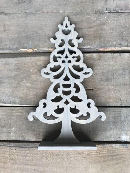 Holzbaum verschnörkelt, grau, T 17,5 cm, B 5 cm, H 31 cm