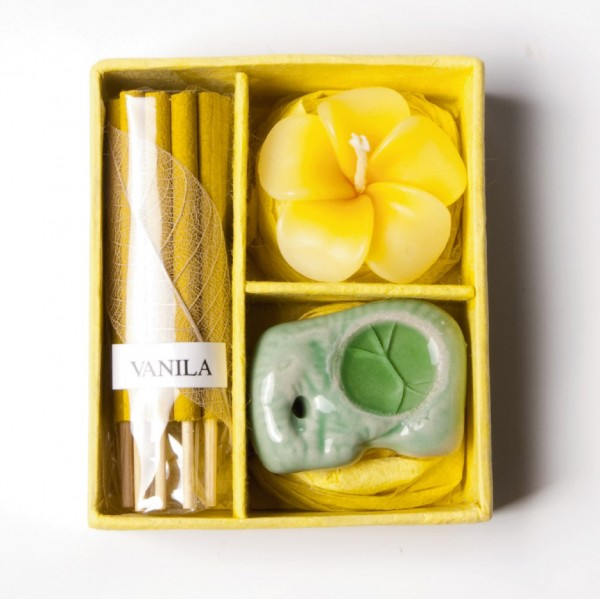 Mini-Räucherset 'Lola', gelb, Ø 7 cm