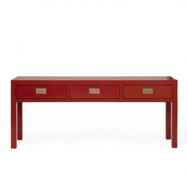 Anrichte mit 3 Schubladen, rot, H 77 cm, B 180 cm, T 45 cm