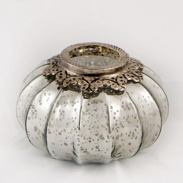 Windlicht 'Pumpkin' S, silber, Ø 17 cm, H 13 cm