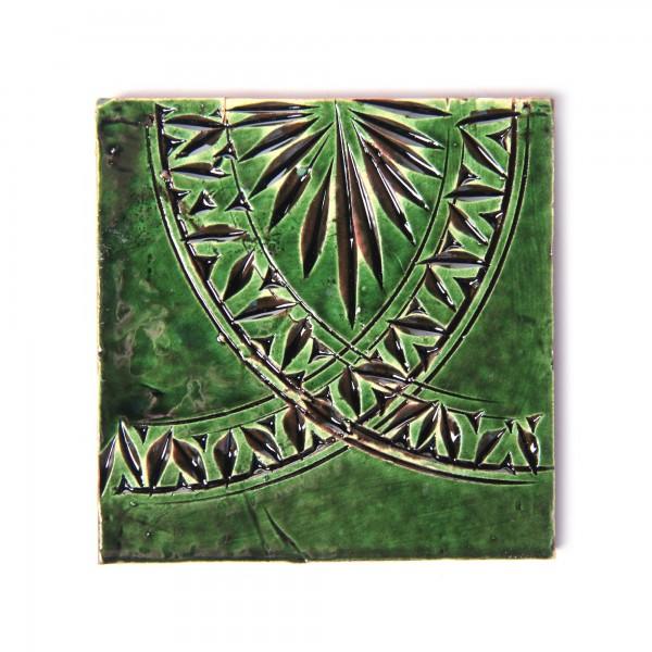 handglasierte Kachel 'cercle vert', grün, L 10 cm, B 10 cm, H 1 cm