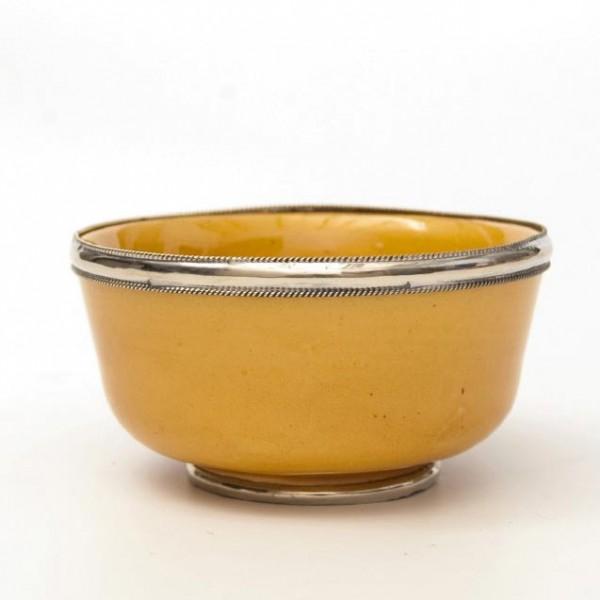 Keramikschale mit Metallverzierung, gelb, H 4,5 cm, Ø 9,5 cm
