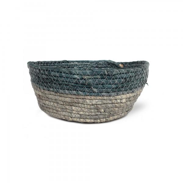 Korb 'Bella' M, türkisgrün, grau, Ø 22 cm, H 9 cm