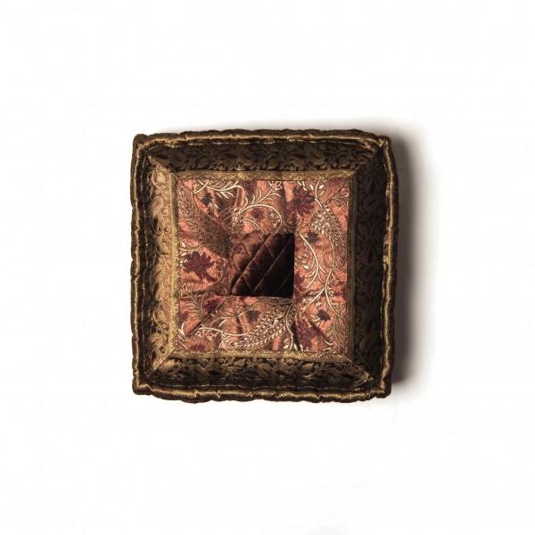 Sitzkissen im Bollywoodstil aus Rajasthan, braun/gold, L 40 cm, B 40 cm, H 10 cm
