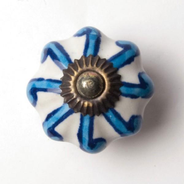 "Türknauf ""Blume"", blau/weiß, Ø 4,5 cm"