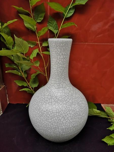 Keramikvase 'Craquelé' matt, grau, Ø 21 cm, H 34 cm