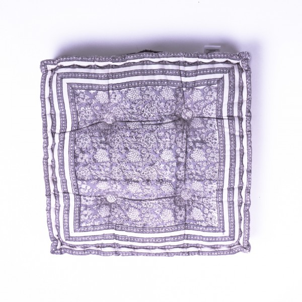 Sitzkissen 'Tarak', manuelles Blockprintverfahren, L 50 cm, B 50 cm, H 8 cm