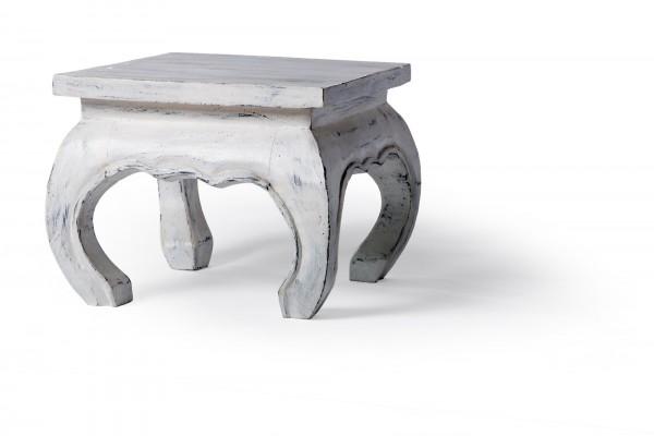 Opiumtisch, antik-weiß, L 30 cm, B 30 cm, H 25 cm