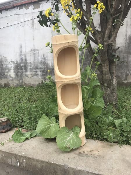 3er Bambusvase, T 54 cm, B 14 cm, H 13 cm