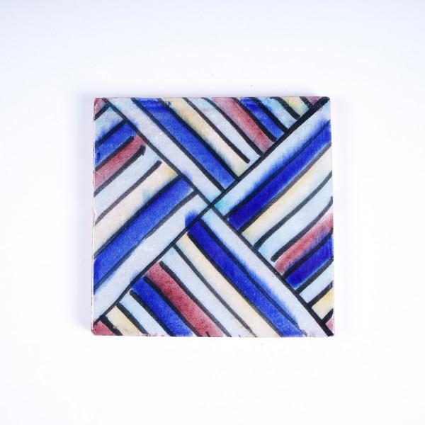 handglasierte Kachel 'weaving', multicolor, L 10 cm, B 10 cm, H 1cm
