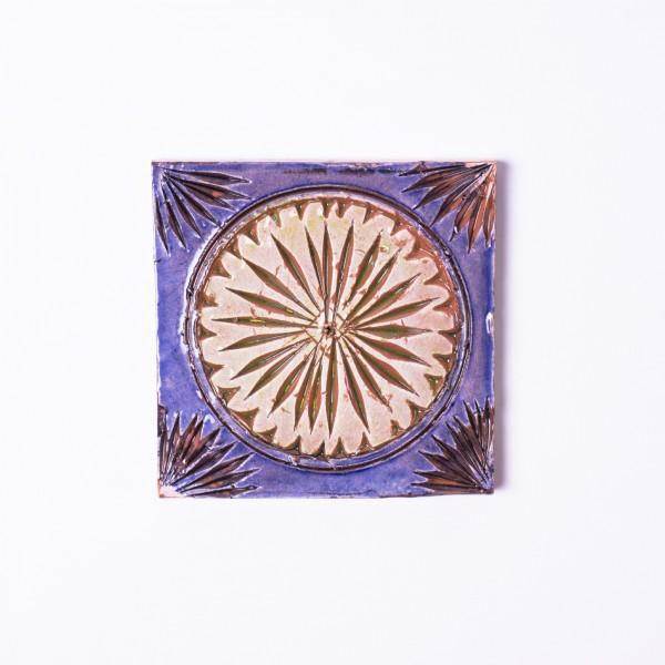 Geprägte Fliese 'Coucher', blau/braun, L 10 cm, B 10 cm