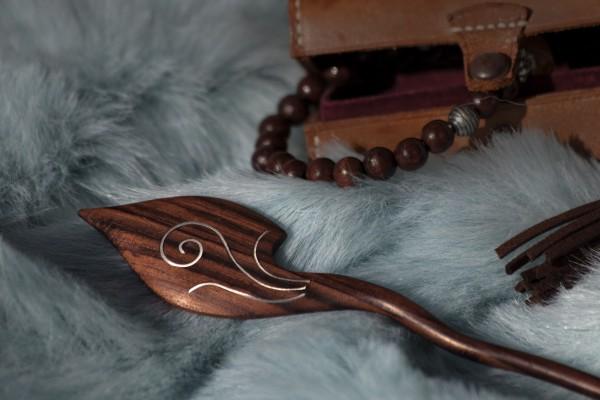 Haarstecker 'Crescent I', braun, T 20 cm, B 3,5 cm