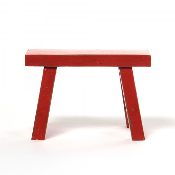 Schemel aus Ulmenholz, rot, L 12 cm, B 30 cm, H 21 cm