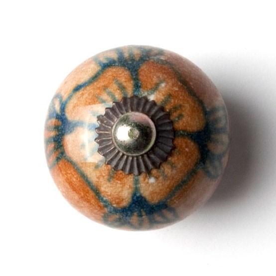 Türknauf rund, braun/blau, Ø 3,5 cm