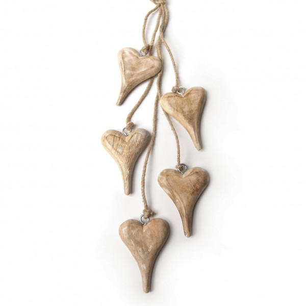 Herzen-Bundle, natur/weiß, L 60 cm