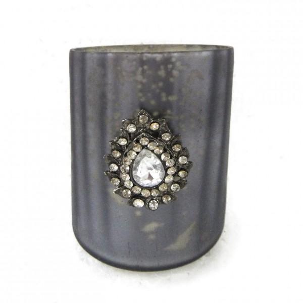"""Teelichtglas """"Votiveschmuck"""", grau, Ø 7 cm, H 8 cm"""