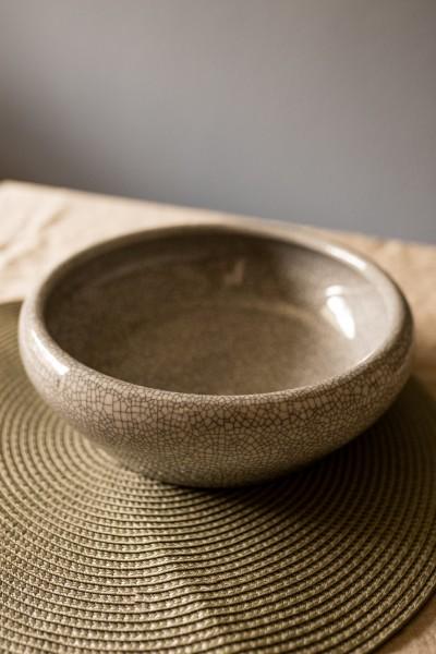 Keramikschale 'Craquelé', grau, Ø 24 cm, H 8 cm