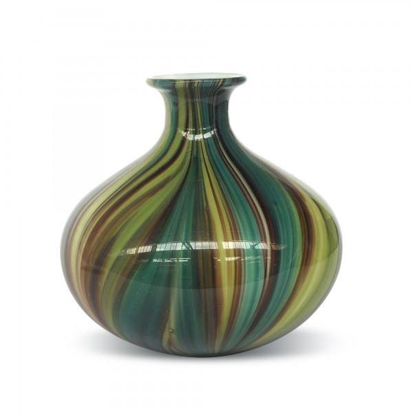Glasvase bauchig, türkis, Ø 17 cm, H 16 cm