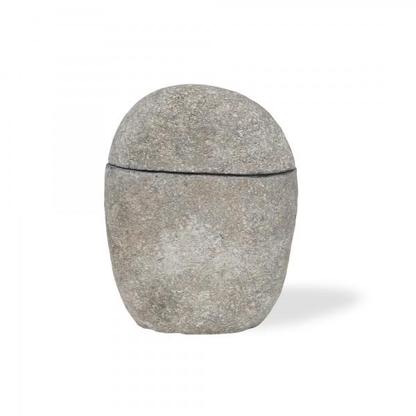Deckelgefäß aus Flusskiesel, grau, Ø 10 cm, H 14 cm