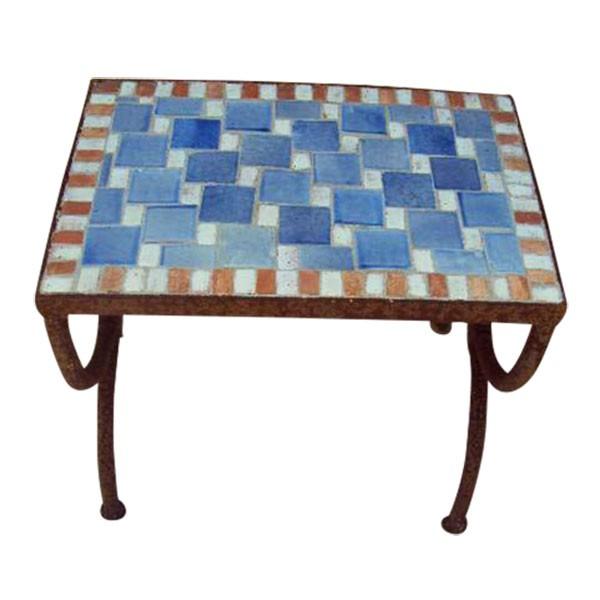 """Mosaiktisch """"Echec"""", blau, L 30 cm, B 50 cm, H 46 cm"""