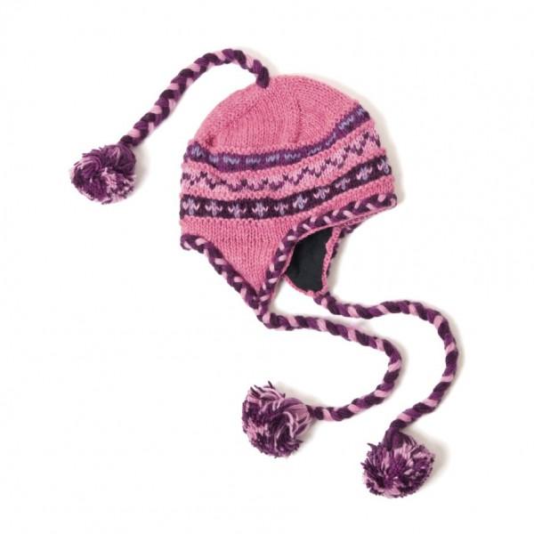 Strickmütze, pink/lila, mit Quasten
