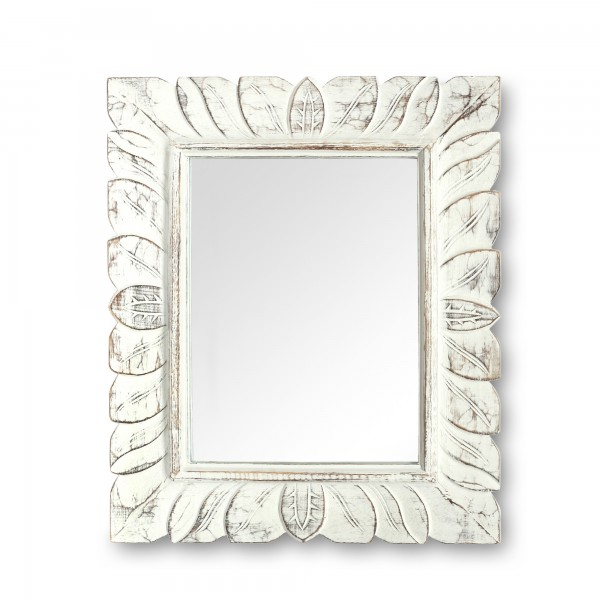 Spiegel 'Blätter', weiß, T 3 cm, B 59 cm, H 49 cm