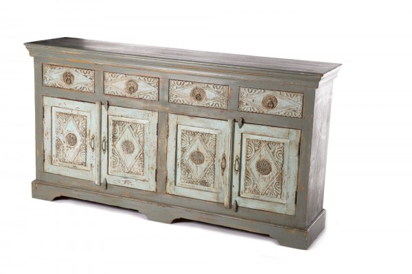 Sideboard 'Panipat', 4 Türen, 4 Schubladen, bemalt, graublau, T 40 cm, B 173 cm, H 92 cm