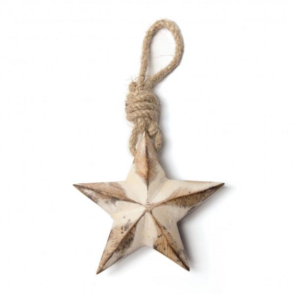 """Baumanhänger """"Stern"""" aus Holz, weiß, B 15 cm, H 15 cm"""