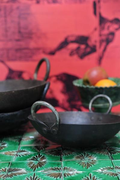 Alter indischer Wok, handgeschmiedet, Ø ca. 30 cm
