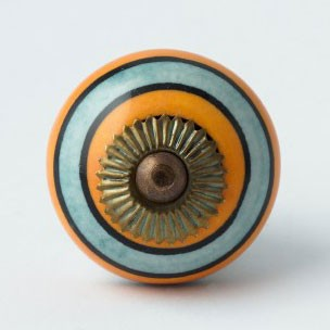 Türknauf rund, orange/türkis, Ø 4 cm