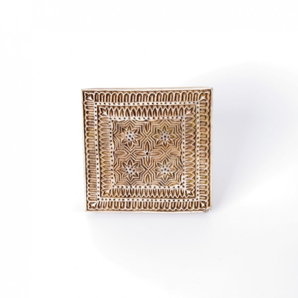 "Holzstempel ""Quadratisch"", handgeschnitzt, B 12 cm, H 12 cm"