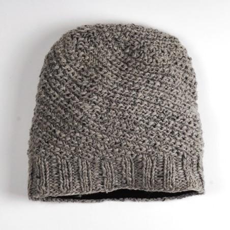 Handgestrickte Wollmütze 'Beanie' aus Nepal, beige/grau