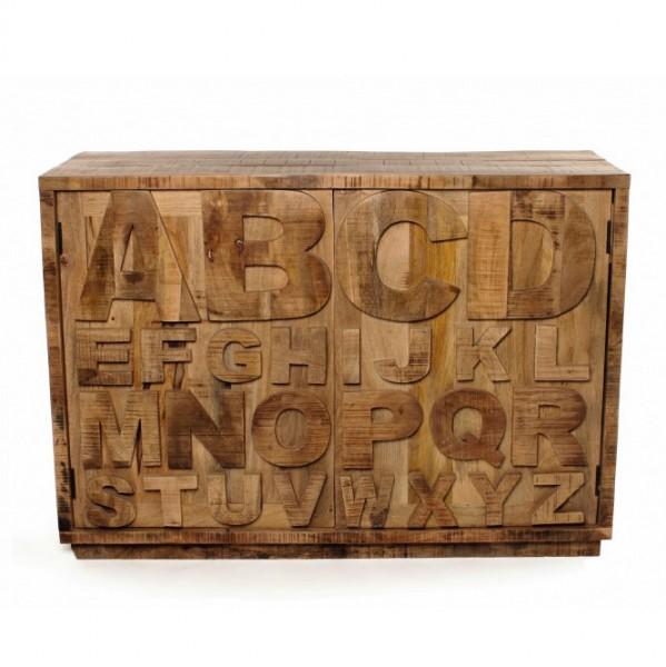 "Kommode ""A bis Z rau"" aus Mangoholz, L 40 cm, B 120 cm, H 85 cm"