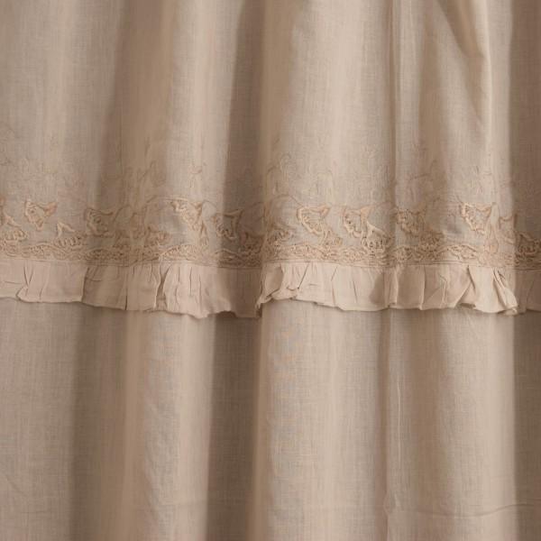 Baumwoll-Vorhang, mit Band, beige, B 110 cm, H 240 cm