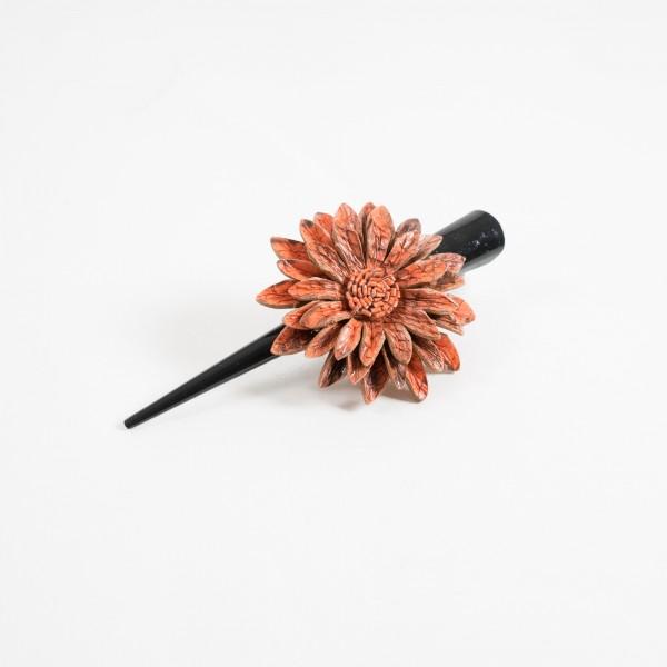 """Haarklammer """"Blume"""", aus Leder, orange"""