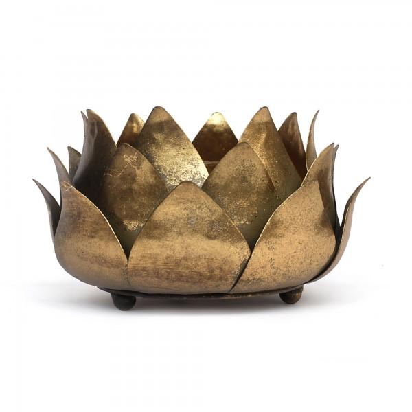 Windlicht 'Lotus', gold, T 24,5 cm, B 24,5 cm, H 13 cm