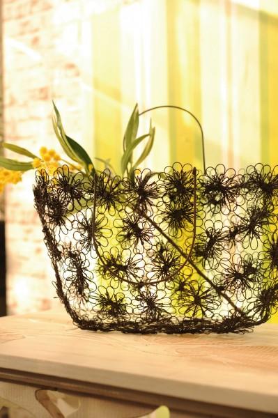 """Drahttasche """"Blumen"""", antik-braun, L 10 cm, B 42 cm, H 21 cm"""