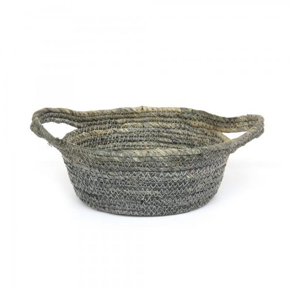 Korb 'Norcia' S, grau, natur, Ø 19 cm, H 9 cm
