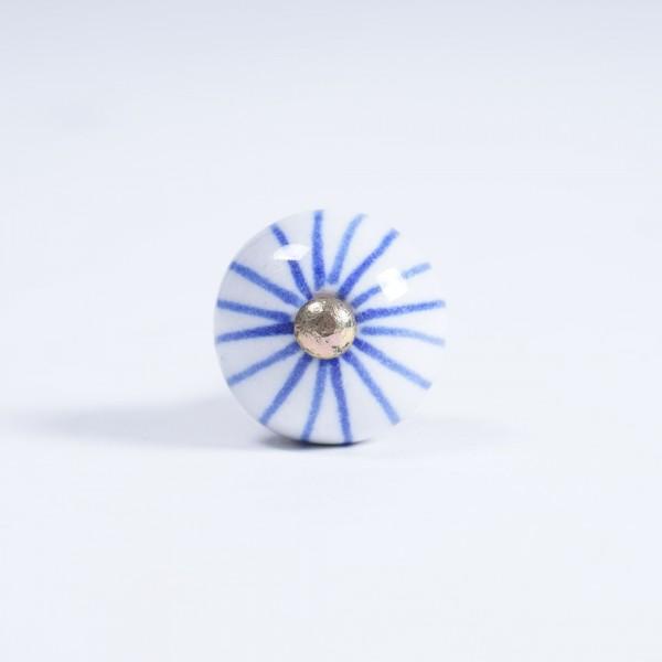 Keramik Möbelknopf rund, handglasiert, blau/weiß, Ø 3 cm