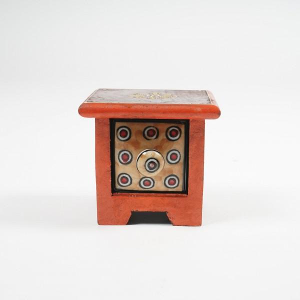 Schmucktruhe mit Schublade, rot/braun, L 10 cm, B 10 cm, H 9 cm