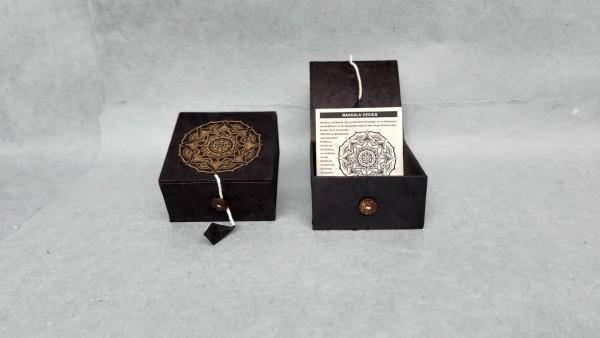 Lokta Box 'Mandala', schwarz, T 11 cm, B 11 cm, H 5,5 cm